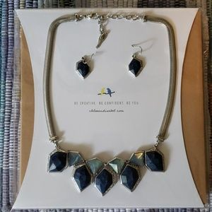 Alpenglow Collar Necklace and Drop Earrings Set